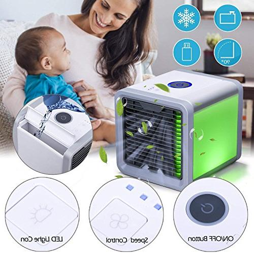 CAYNEL Conditioner, 1 Mini USB Personal Air Humidifier, Purifier, Desktop Fan 3 Colors Night Light for