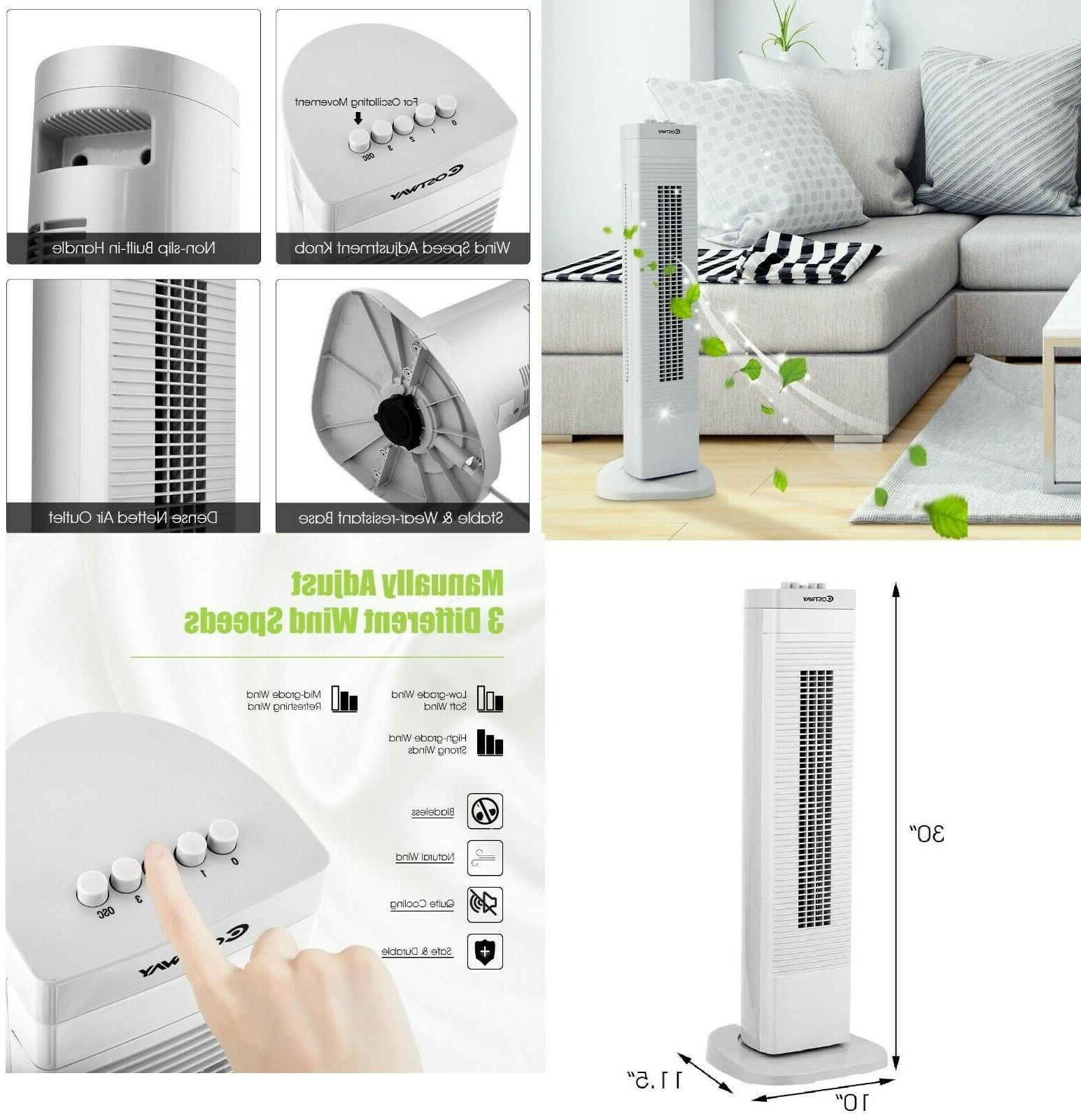 portable tower fan 30 3 speed oscillating